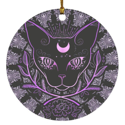 Occult cat witch Circle Ornament Housewares CustomCat White One Size
