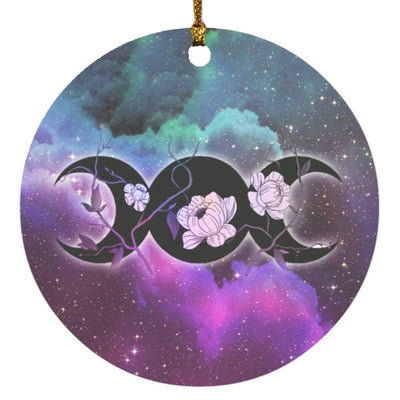 Floral triple moon wicca Circle Ornament Housewares CustomCat White One Size
