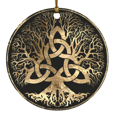 Celtic Tree Of Life Wicca Pagan Circle Ornament Housewares CustomCat White One Size