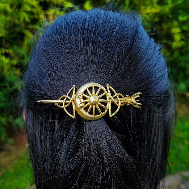 Witch Crescent Moon Sun Celtics Knot Hairpin