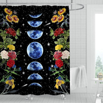 Moon Phases Flower Wicca Shower Curtain Shower Curtain MoonChildWorld 02 180x240cm