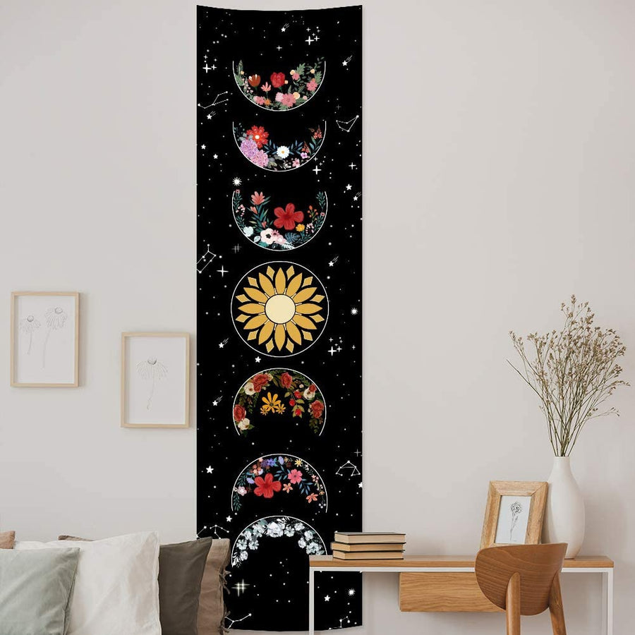 Wicca Moon Phase Floral Tapestry