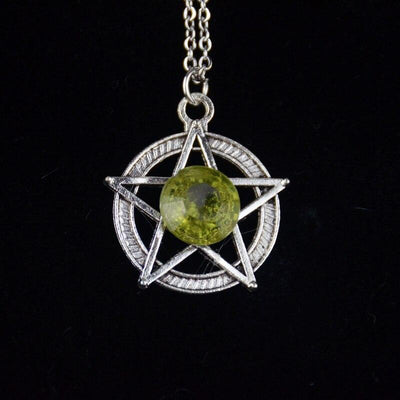 Crystal Pentacle Wicca Necklace Necklace MoonChildWorld Green