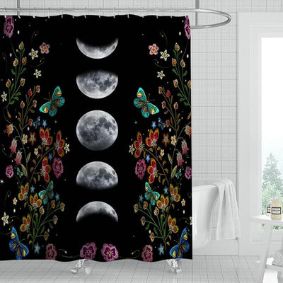 Moon Phases Flower Wicca Shower Curtain Shower Curtain MoonChildWorld 1 180x240cm