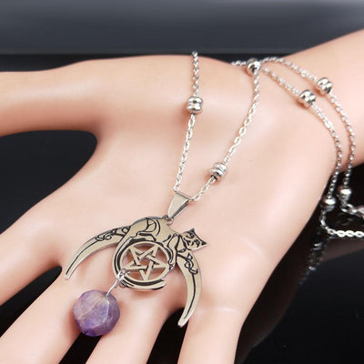 Wicca Moon Pentagram Cat Amethyst necklace Necklace MoonChildWorld