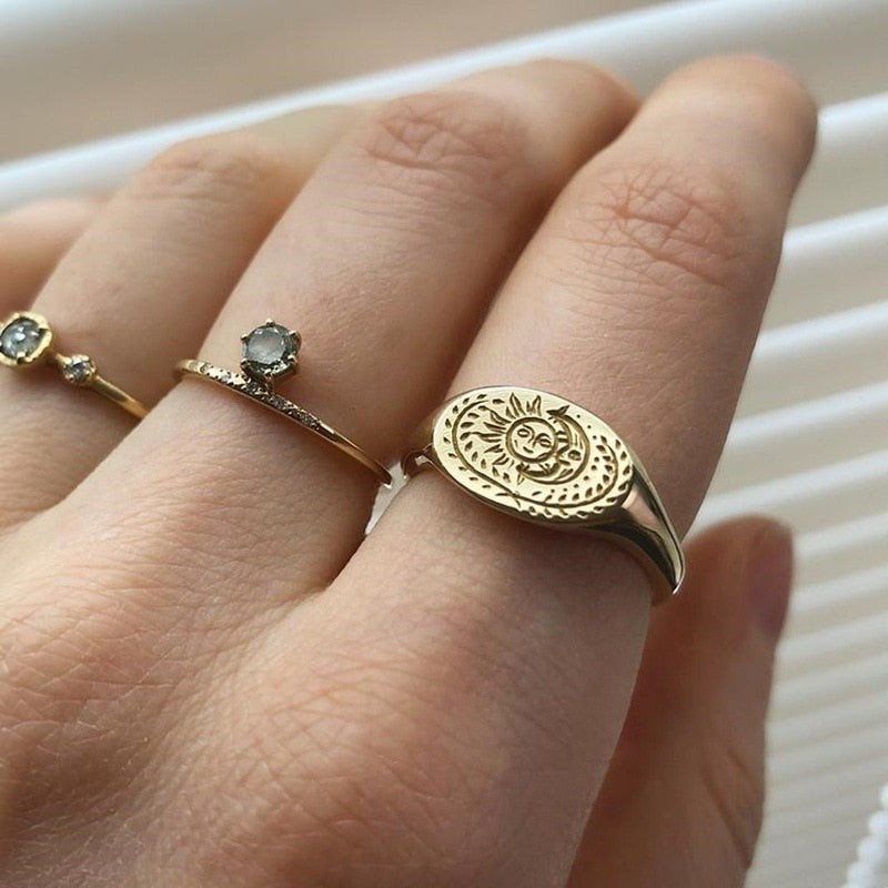 Wicca Sun Moon Ring