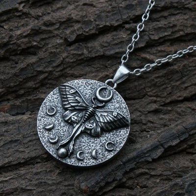 Wicca Moon Phase Moth Occult Necklace Necklace MoonChildWorld