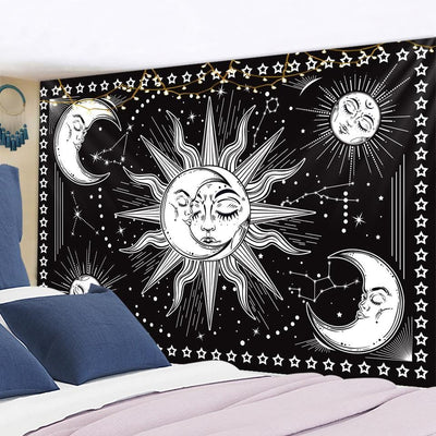 Wicca Sun Moon Mandala Tapestry Tapestry MoonChildWorld