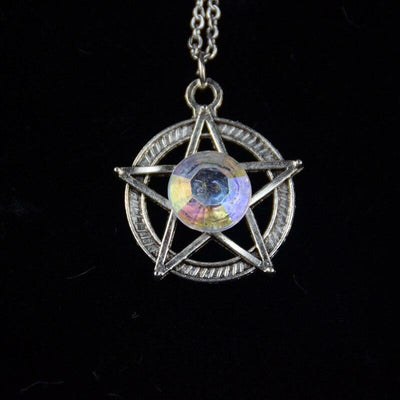 Crystal Pentacle Wicca Necklace Necklace MoonChildWorld White