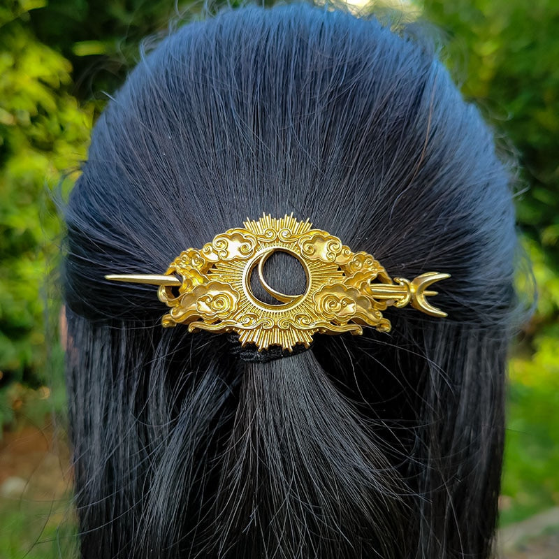 Crescent Moon Hair Barrette Wicca Hairpin