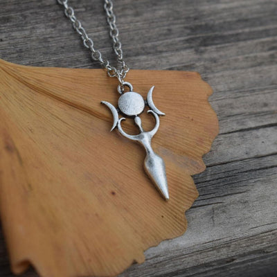 Wicca goddess triple moon necklace Necklace MoonChildWorld