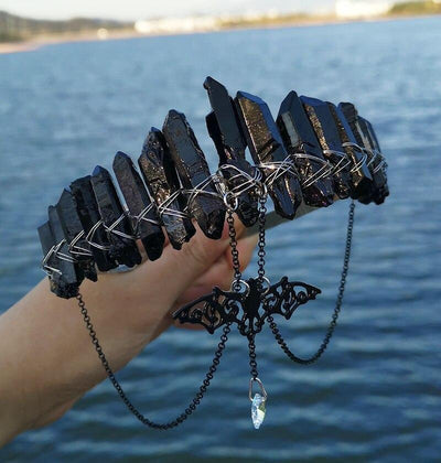 Witch natural raw crystal black bat crown Crown MoonChildWorld 2