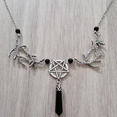 Witch Onyx Pentacle Branch Necklace Necklace MoonChildWorld