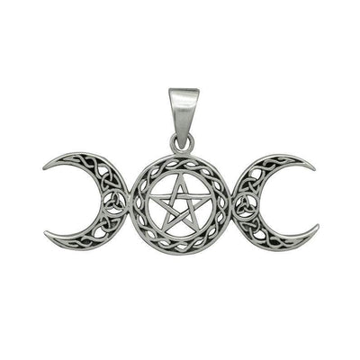 Wicca Pentagram Triple Moon Necklace Necklace MoonChildWorld