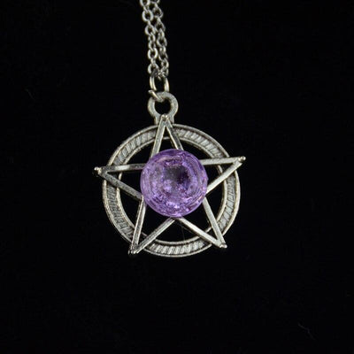 Crystal Pentacle Wicca Necklace Necklace MoonChildWorld Purple