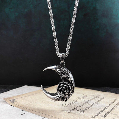 Gothic moon rose witch necklace Necklace MoonChildWorld