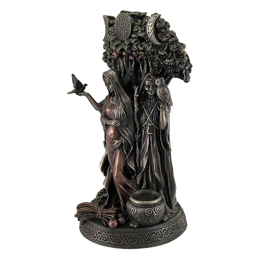 Wicca Celtic triple goddess statue