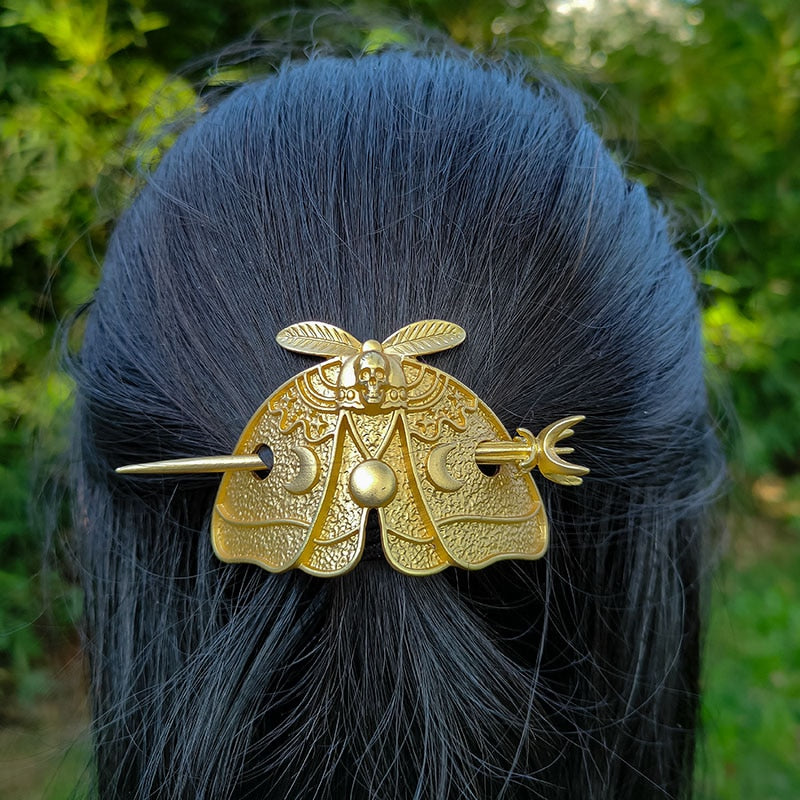 Silver Death Head Skull Butterfly Moth Hairpin