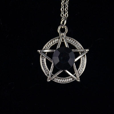 Crystal Pentacle Wicca Necklace Necklace MoonChildWorld Black
