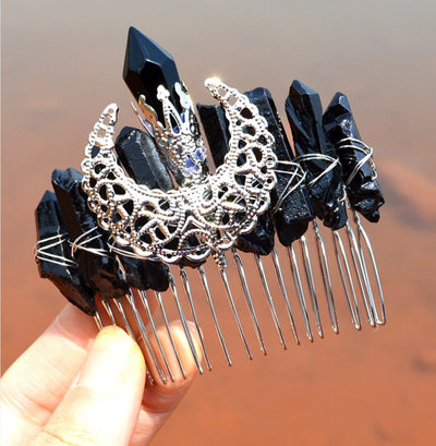 Moon crystal wicca hair comb