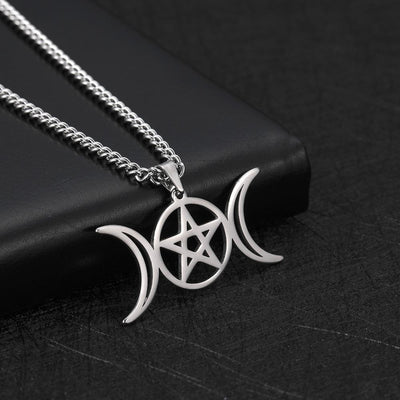 Wicca triple moon pentagram necklace Necklace MoonChildWorld