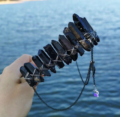 Witch natural raw crystal black bat crown Crown MoonChildWorld