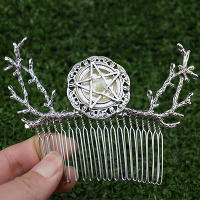 Pentagram crystal wicca hair comb Hair comb MoonChildWorld