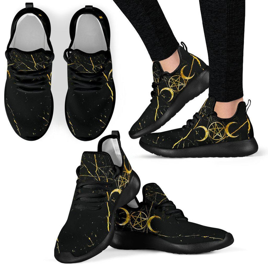 Triple moon wicca mesh knit Sneakers