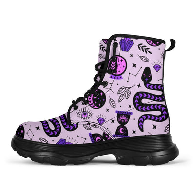 WItch snack moon Chunky Boots Shoes MoonChildWorld Women's Chunky Boots - WItch snack moon US5 (EU35)