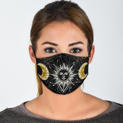 Triple moon sun wicca Face Mask Face mask MoonChildWorld