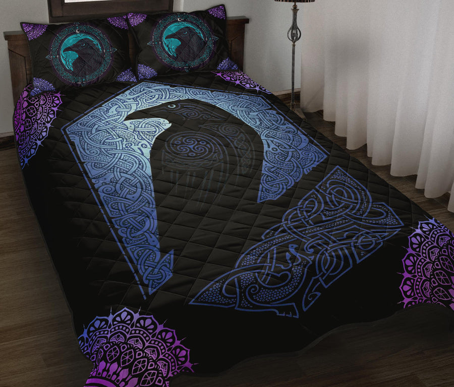 Gothic Raven witch Quilt Bed Set