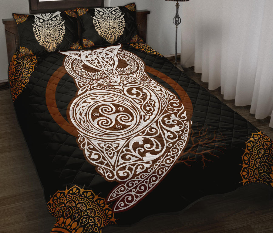 Witch celtic owl Quilt Bed Set
