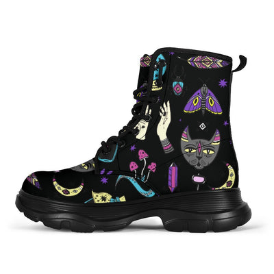 Witchy hand cat moon wicca Chunky Boots Shoes MoonChildWorld Women's Chunky Boots - Witchy things US5 (EU35)