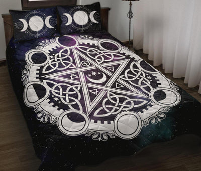 Celtic pentagram moon wicca Quilt Bed Set Bedding Set MoonChildWorld