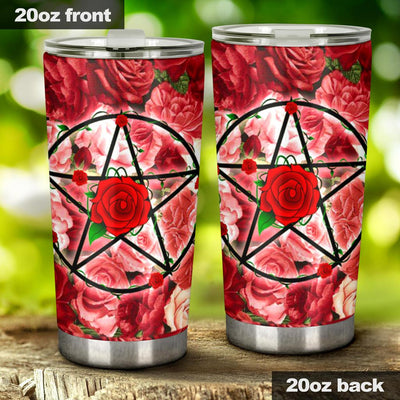 Pentacle rose wicca tumbler Tumblers MoonChildWorld Tumbler - Pentacle rose 20oz Large