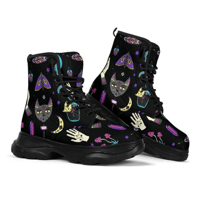 Witchy hand cat moon wicca Chunky Boots Shoes MoonChildWorld