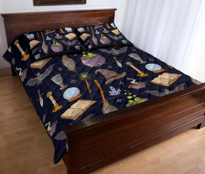 Witch broom hat magic Quilt Bed Set Quilt Bed Set MoonChildWorld