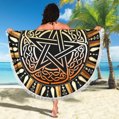 Celtic pentagram wicca Beach Blanket Beach blanket MoonChildWorld