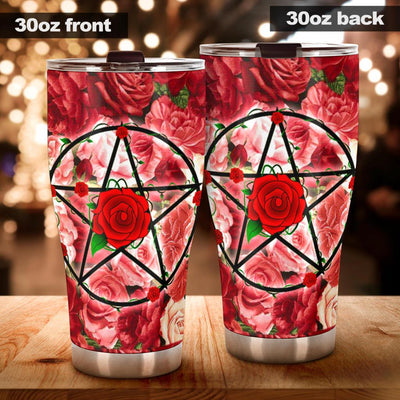 Pentacle rose wicca tumbler Tumblers MoonChildWorld Tumbler - Pentacle rose 30oz X-Large