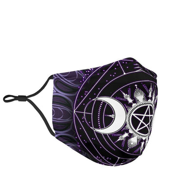 Triple moon pentagram wicca Face Mask Face mask MoonChildWorld