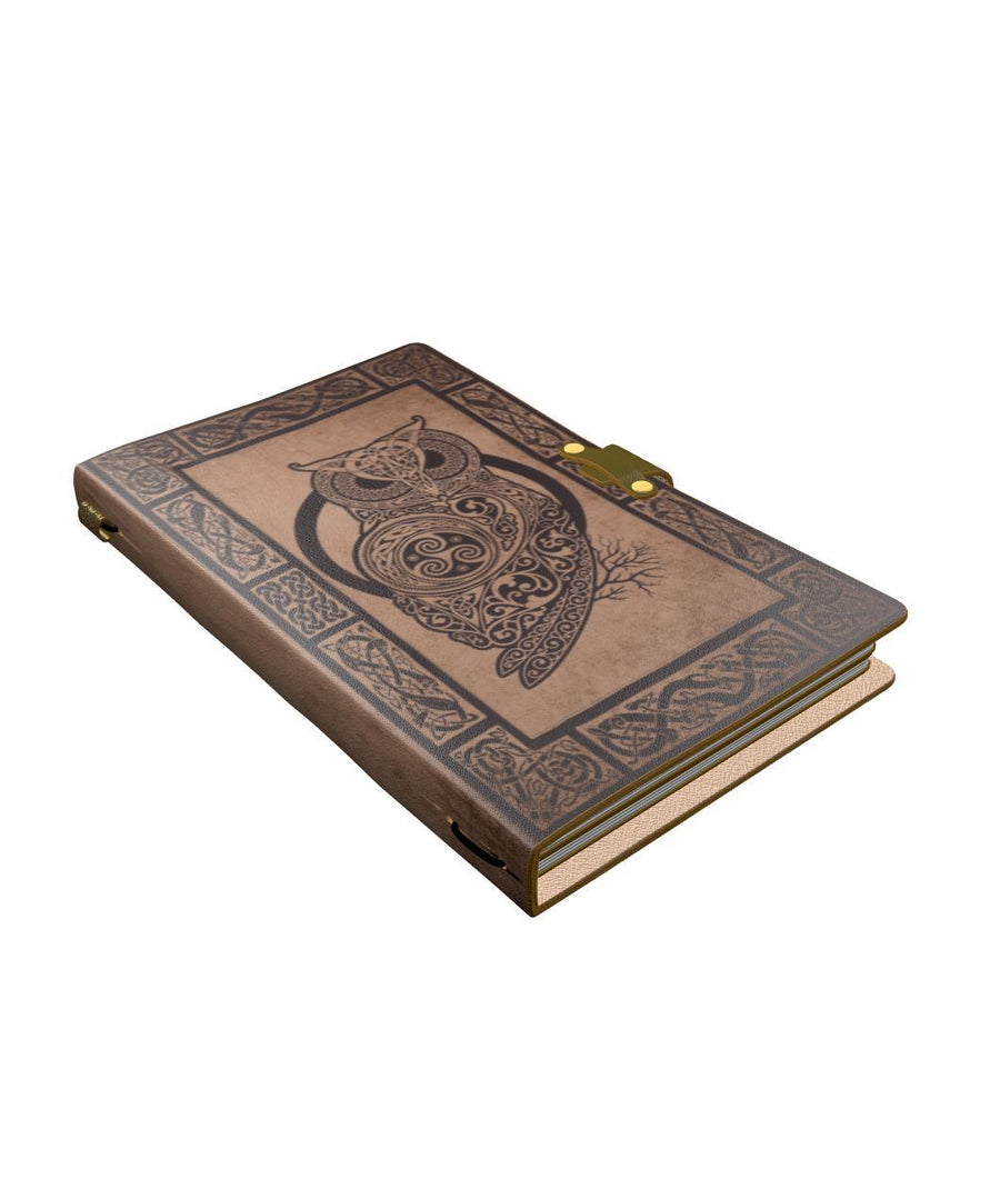 Celtic owl wicca viking leather notebook