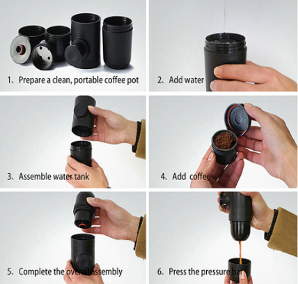 Steps to operate - portable coffee machine