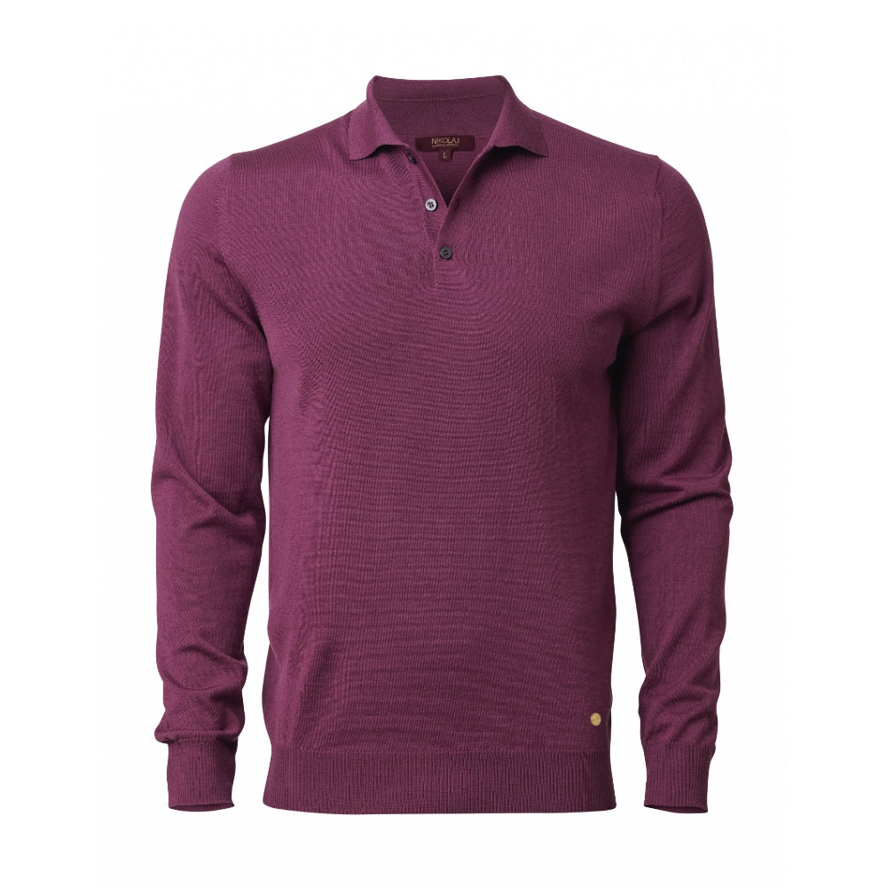 FELIX LONG SLEEVED KNITTED POLO SHIRT Damson Pink