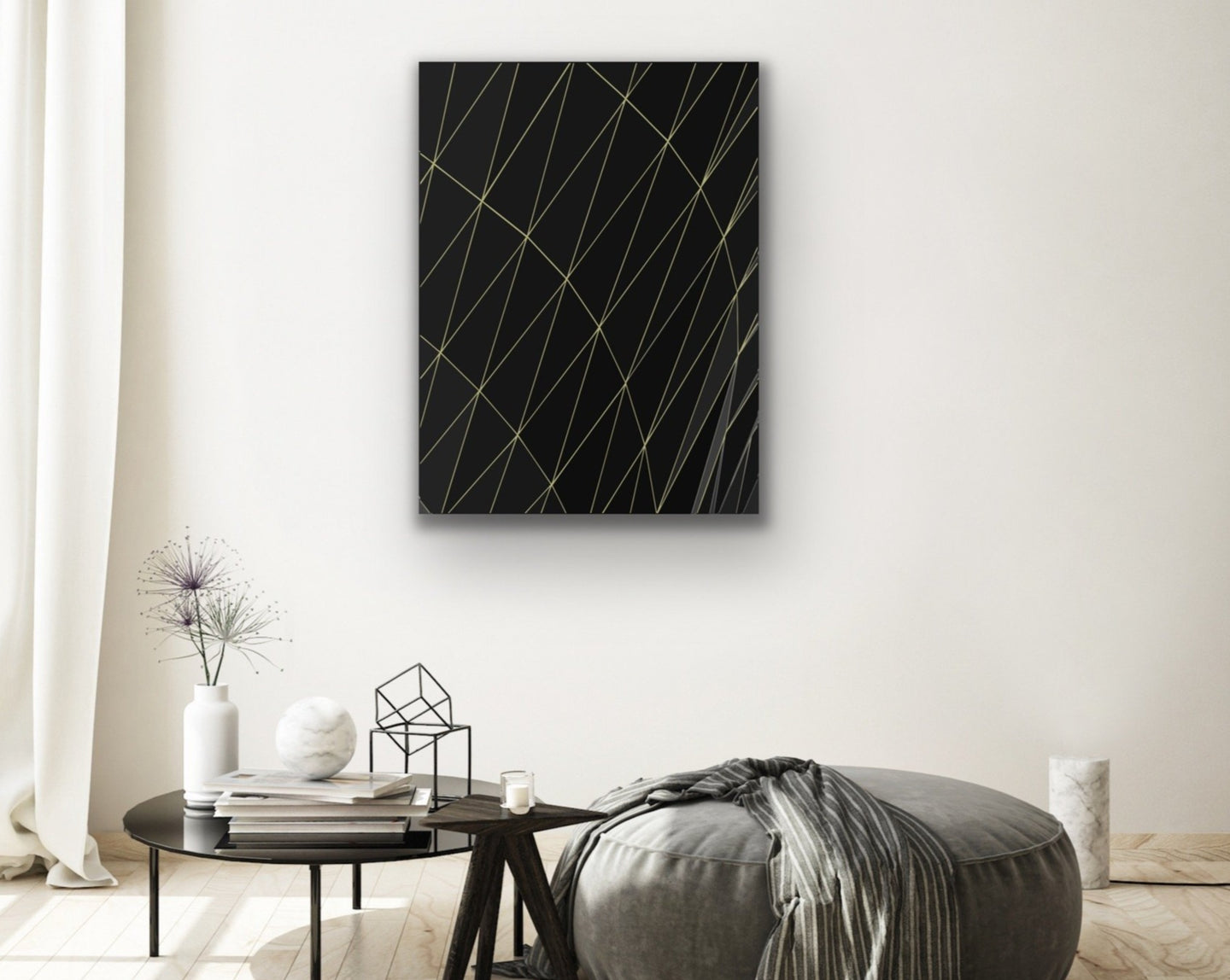 Abstract Black and Gold Lines Wall Art