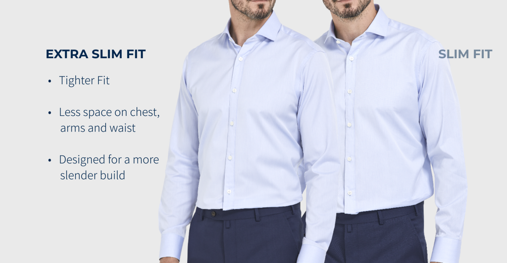 Description of the Alder & Green Extra Slim Fit Shirt. Cut to a tighter fit and more suitable for slender body types and people who like to wear their clothes tight.