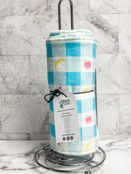 Teal picnic Reusable Paper Towels | Teal fruit Cloth wipes