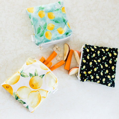 Lemon Reusable Snack Bags | Reusable Zipper Bags |