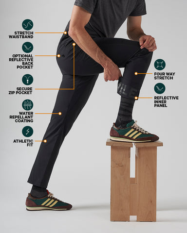 Infographic showcasing commuter trouser features. Features highlighted are water repellant coating, four-way stretch, athletic fit, elastic waistband, reflective panels and secure zips.