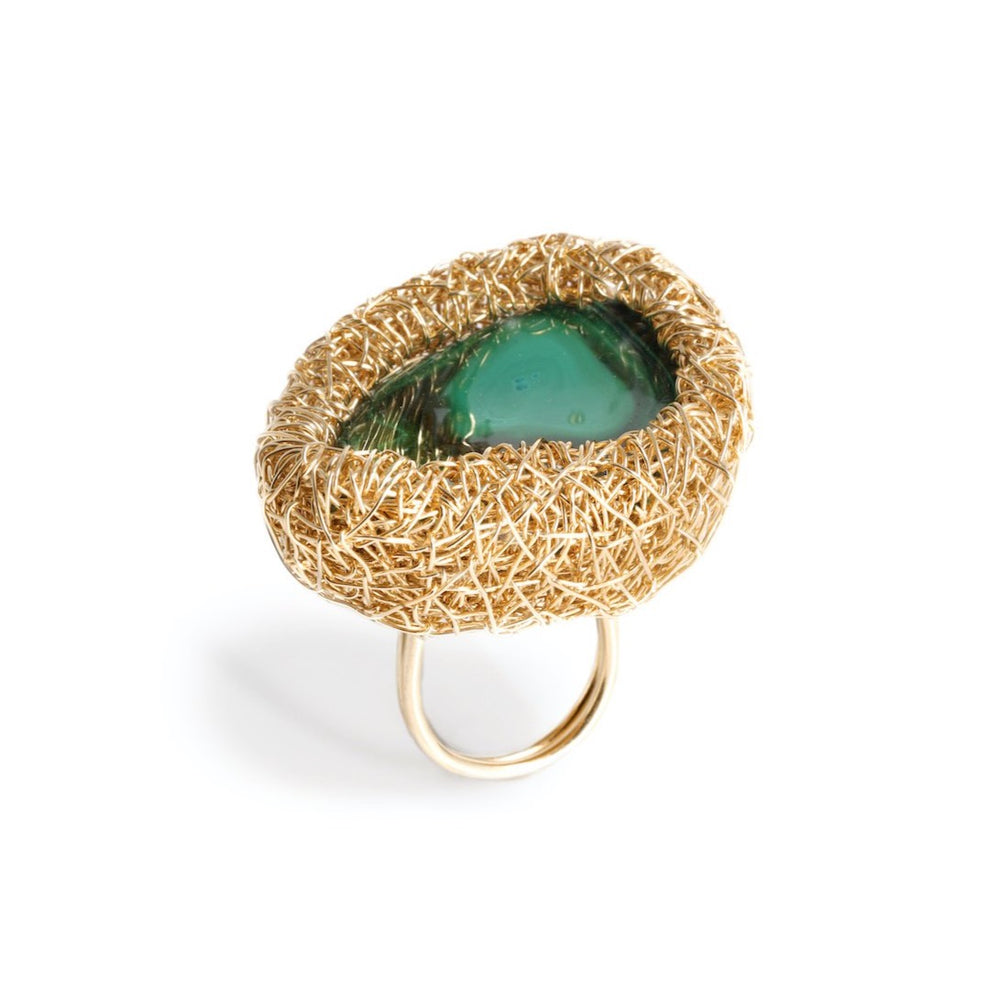 Ahmose, Green Stone ring, Malachite, StoneRings, Cool Style, Sheila Westera Jewellery, CocktailHour, CocktailRing, Statement jewelry, one-of-a-kind, unique, wearable art, London design, Edgy Ring, Swiss made, Beautiful rings, StatementRing, Jewellery maker, Large sized, yellow gold, ringen