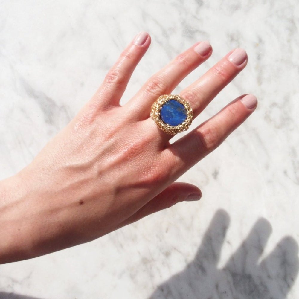 Yellow gold ring with a Lapis Lazuli stone , from Conversation Piece Collection by Sheila Westera
